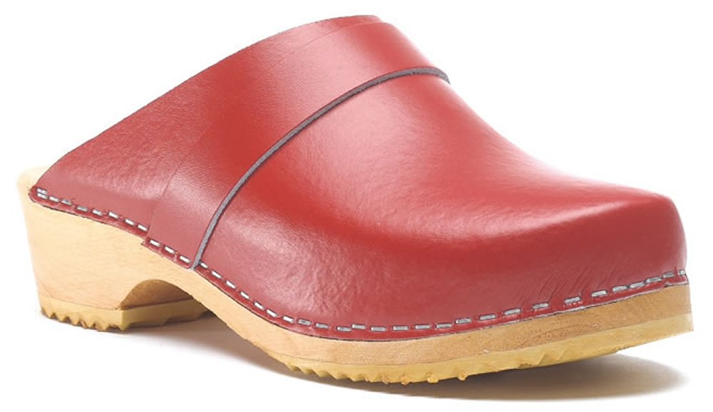 Toffeln Classic Klog 310 Classic Traditional Wooden Clogs - Red 3