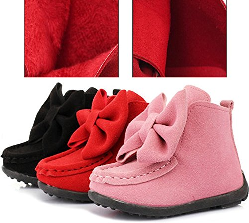 PPXID Girl's Lovely Bownot Suede Fur Inner Snow Boots(Toddler/Little Kid)