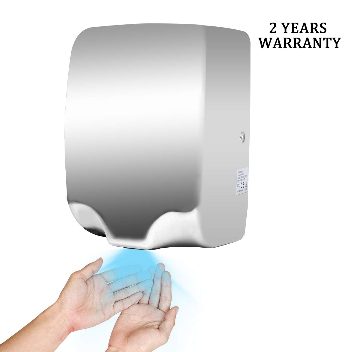 Goetland Stainless Steel Commercial Hand Dryer 1800w Automatic High Speed Heavy Duty White