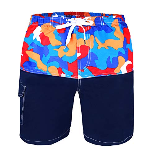 Kute 'n' Koo Boys Swim Trunks, UPF 50+ Quick Dry Boys Swim Shorts for Big Boys and Toddlers, Size from 2T to 18/20 (4S, Camo - Mix Polyester