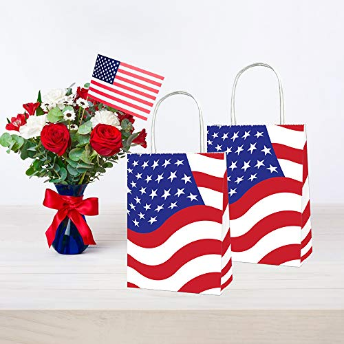 CC HOME Patriotic Paper Goody Bag,American Flag USA Patriotic Star Design Candy Bags,4th of July Independence day American Flag Party Supplies Decorations ,Party Favor Paper Treat Bags for Labor Day, - Star Flag Patriotic