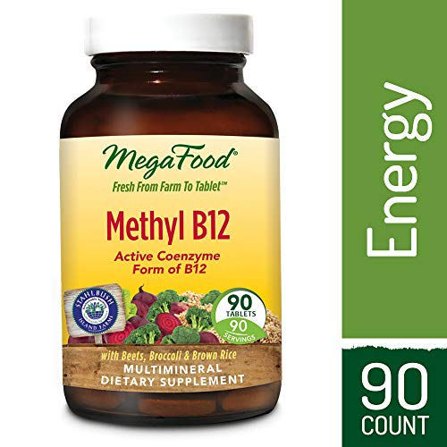 MegaFood - Methyl B12, Helps Maintain Healthy Homocysteine Levels and Supports Heart, Brain, and Nerve Tissue Health with Methylated B Vitamins, Vegan, Gluten-Free, Non-GMO, 90 Tablets