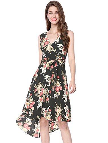Allegra K Women's Crossover V-Neck Belted Asymmetric Hem Floral Dress XL Black ()