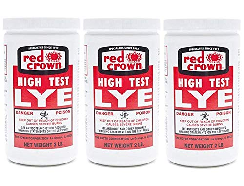 Red Crown High Test Lye for Soap Making Case of 3-2 Lb. Packages