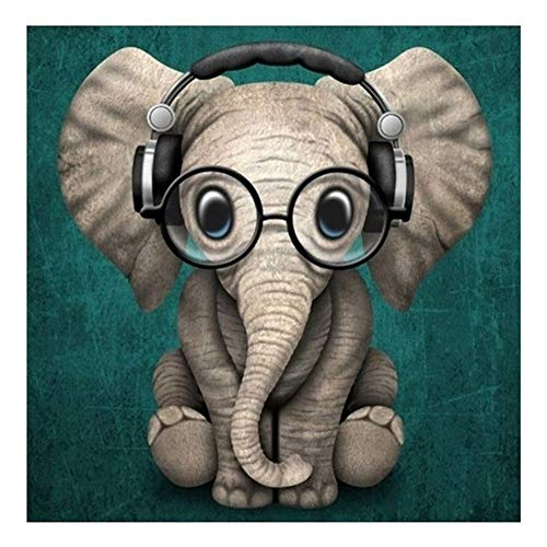 5D DIY Diamond Painting Full Drill Cross Stitch Kit Diamond Painting Number Kits Embroidery Art for Adults Elephant Wearing Glasses 11.8x11.8in 1 Pack by Lighting S Direct from Lighting S Direct