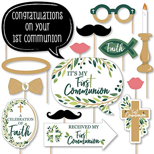 First Communion Elegant Cross - Religious Party Photo Booth Props Kit - 20 Count