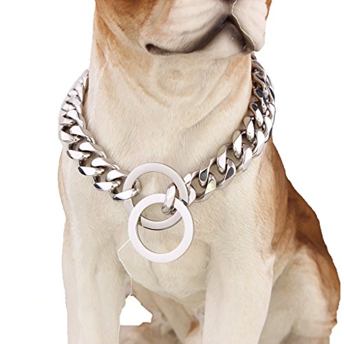 15mm Wide Bling Chain Curb Cuban Link Silver Tone 316L Stainless Steel Dog Choke Chain Collar Pet by W&W LOVE