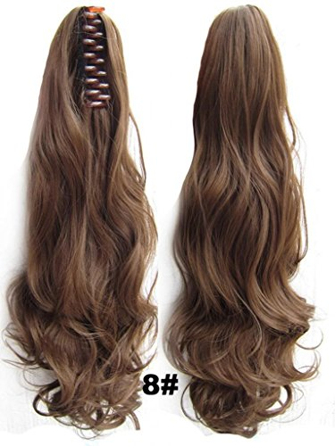 Beauty Wig World 20inch 50cm 100g Long Wave Curly Double Usage Synthetic Hair Clip Ponytails Pony Tail Hair Extensions - #8 medium (Brown Ponytail Wig)