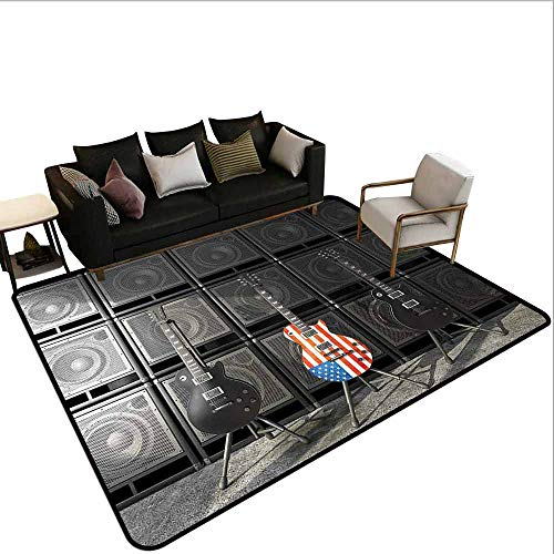 Transparent Printed Doormat American Flag,Black and Us Bass Guitar Electronic Rock Music Digital Graphic Work,Multicolor