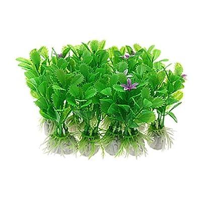 eDealMax Jardin 10-pieza decorativa planta de la hierba del ornamento del acuario, Verde
