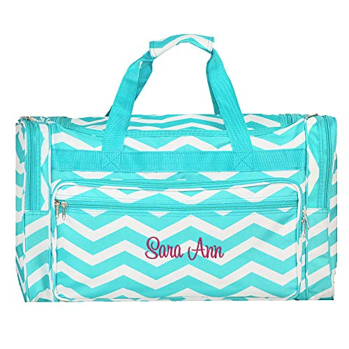 Personalized Aqua Chevron Overnight Duffle Bag ()