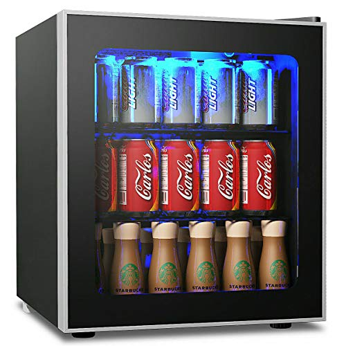 "COSTWAY Beverage Refrigerator and Cooler, 60 Can Mini Fridge, Adjustable Removable Shelves, Perfect for Soda Beer or Wine Small Drink Dispenser Machine for Office or Bar (17.5"" x 18"" x 19.5"")"