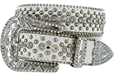 bling cowgirl belts - Women's Cowgirl Style Western Belt with Rhinestones and Studs (36, White)