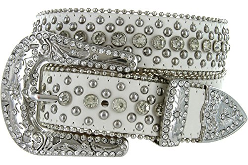 Rhinestone White Stud - Women's Cowgirl Style Western Belt with Rhinestones and Studs (32, White)