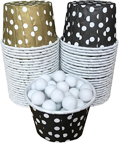 Candy Nut Mini Baking Paper Treat Cups - Black Gold White - 48 Pack