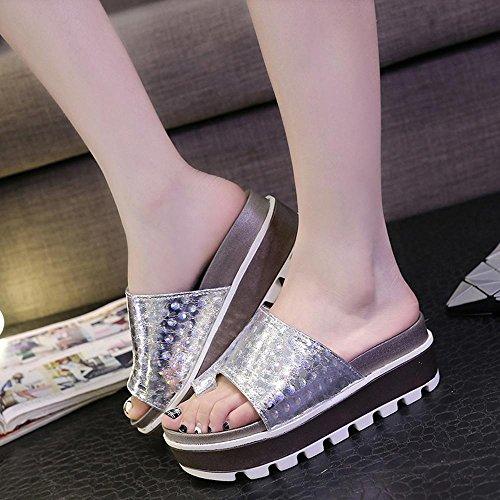 Heart&M Moda Todo-fósforo de la mujer gruesa suela plana único alto talón de las sandalias de los deslizadores Anillo Silver