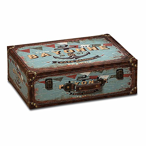 (The World Traveler Anchor Themed Suitcase Storage Box, Teal, Faux Leather, Wood, Lined, Brass Hardware, Over 1 ft long, (15 3/4 L x 111/2 W x 5 H inches) By WHW)