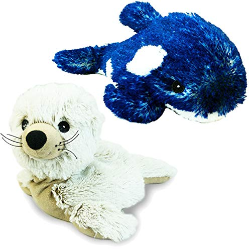 Intelex Cozy Warmies Whale and Seal Plush for use as Heating Pad, Kids Sleep Aid or Autism Toys|Lavender Scented|Full Size|Marine Plush Bundle