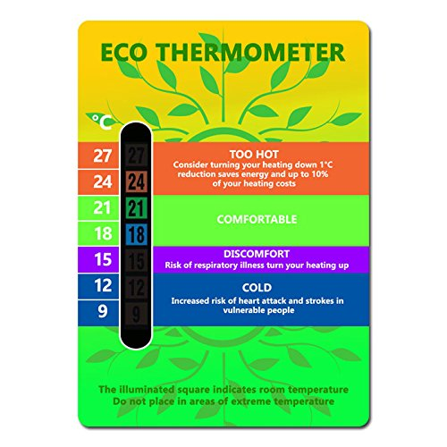 Eco Energy Saving Room Thermometer Card Colour Changing