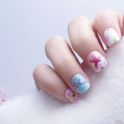 24 pcs 12 tallas Flores Freschi Rosa Cielo Azul Uñas Postizas Para ...