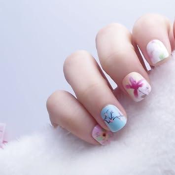 24 pcs 12 tallas Flores Freschi Rosa Cielo Azul Uñas Postizas Para Niños pre-colla Consigli para uñas postizas: Amazon.es: Belleza