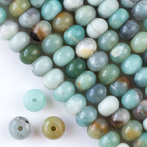 Cherry Blossom Beads Large Hole 2.5mm Drilled Amazonite Beads 8x12mm Smooth Rondelle - 8 Inch Strand