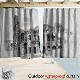 SEMZUXCVO Living Room/Bedroom Window Curtains Sketchy Ancient Historical Ruins Colosseum Artwork Italy Rome Antique Cultural Inspiration Gazebo W55 x L45 Beige Black