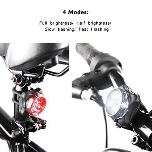 Ascher USB Rechargeable Bike Light Set,Super Bright Front Headlight and Free Tail Light, 4 Light Mode Options, 650mah Lithium Battery, Water Resistant IPX4(2 USB Cables and 4 Strap Included) by Ascher (Image #2)