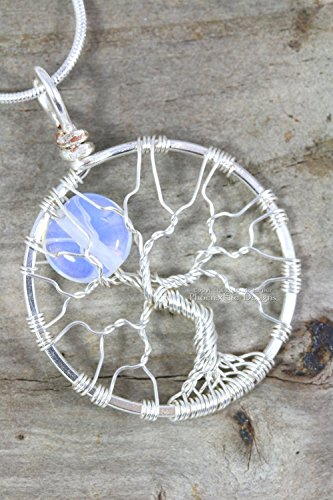 Silver Fig (Silver Wire Wrap Tree of Life Pendant Opalite Moonstone Full Moon Jewelry Bridesmaid Gift Necklace)