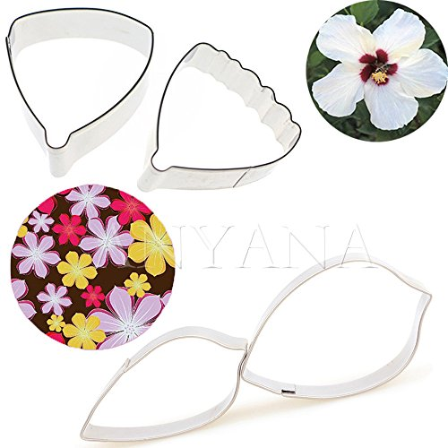 Anyana METAL Icing biscuit cookie Cutters Six Petal Hibiscus Flower Petal set of 4 Sugarcraft Cake Decorating cupcake mold tools topper stainless steel pastry