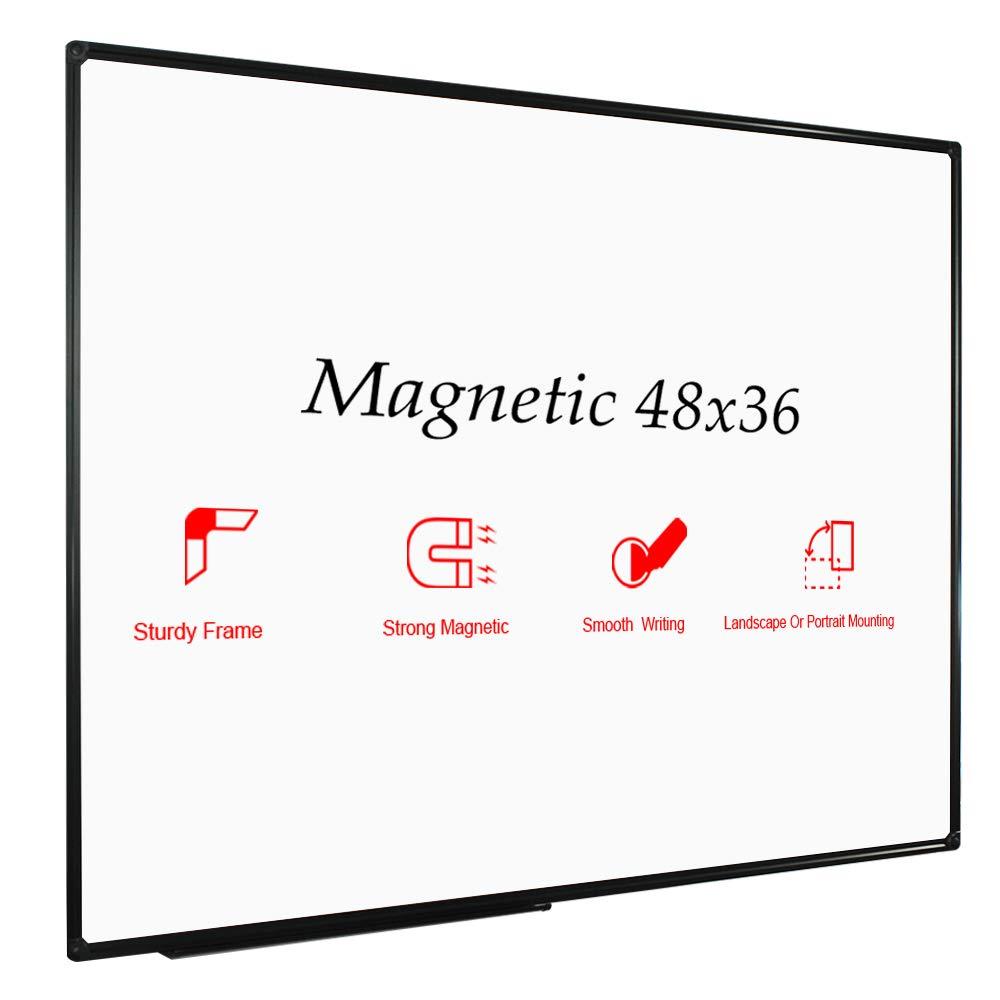 JILoffice Magnetic Whiteboard/White Board, Dry Erase Board 48 x 36 Inch, Black Aluminium Frame Wall Mounted Board for Office Home and School by JILoffice