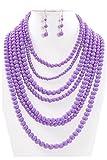 JY Fashion 7 Strand Layered Bead Luxury Costume Necklace Set (Lavender)