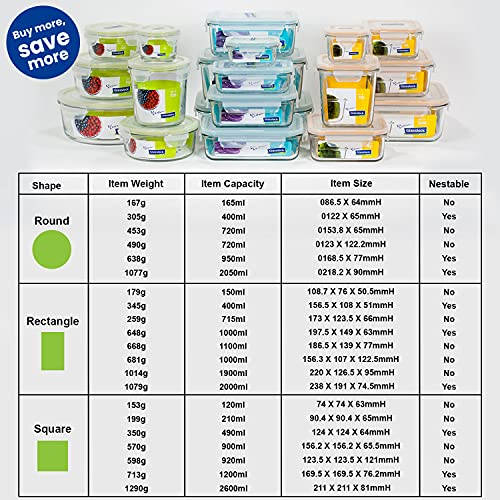 Glasslock Korea Tempered Glass Container, 400 ml, Rectangle - Microwave Safe Food Storage Box with Lid, Airtight - Classic Type Kitchen Jar, Fridge Safe