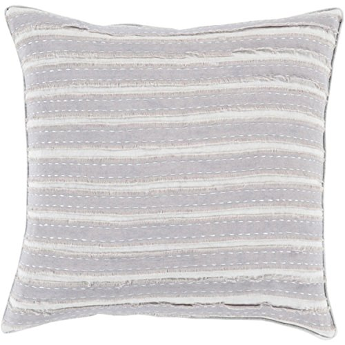 22'' Rainy Day and Haze Gray Striped Woven Decorative Throw Pillow-Down Filler by Diva At Home