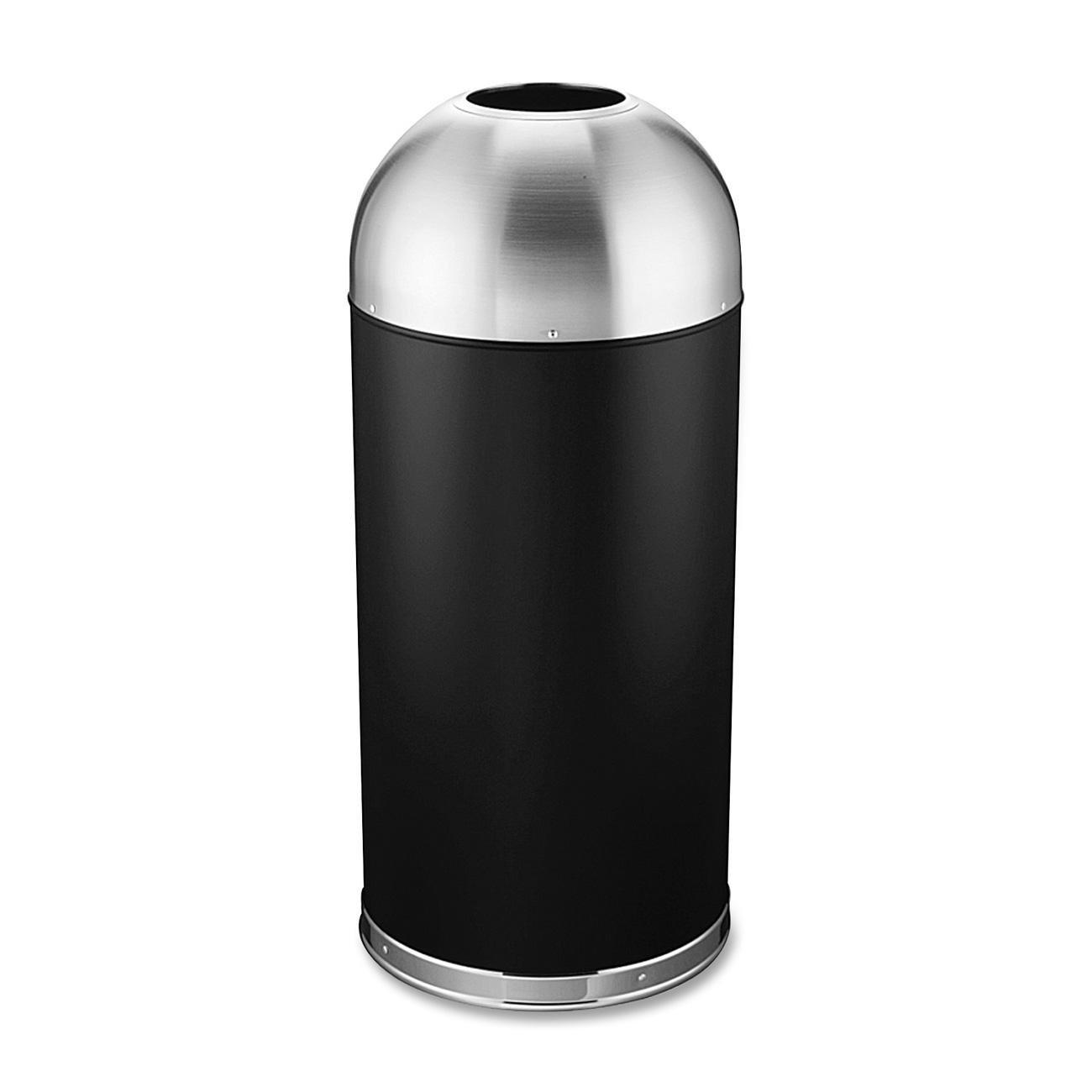 Genuine Joe GJO58896 Stainless Steel Domed Top Trash Receptacle, 15 gallon Capacity, Black/Silver by Genuine Joe