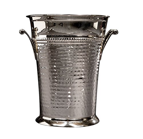 Sleek Brass Champagne Bucket - Nickel Polish Wine Bottle Cooler - Large Hammered Champagne Ice Bucket -