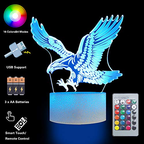 (Eagles Remote Control Night Lights 3D Optical Illusion 16 Colors LED Lamps Animals Lovers Home Bedroom Decor Birthday Party Gifts Art Deco Choices for Boys Kids Babes Friends)