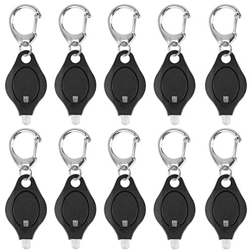 Uniclife 10 Pack Mini Keychain Flashlight Ultra Bright LED Key Ring Light Torch, Black