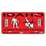 Idaho ID Zombie Hunting License Permit Red - Biohazard Response Team Novelty Metal Vanity License Tag Plate