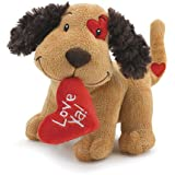"Cute Plush Fetching Dog with ""Love Ya"" Red Heart Shaped Pillow 8"""