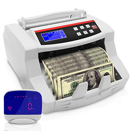 Money Counter with Counterfeit Detector - Wireless Rechargeable Digital Bill Counter, Cash Counting Machine w/Detachable LCD Display, Counts U.S Canadian Dollar, Euro, Pound Banknote - Pyle PRMC700.5