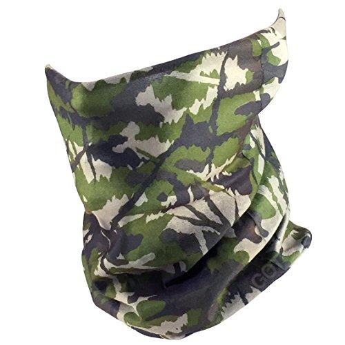 Fishing Mask Camo Headwear - Works as Fishing Sun Mask, Neck Gaiter, Headband, Bandana, Balaclava - Multifunctional Breathable Seamless Microfiber (Deep Forest)