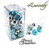 Luxcathy 32pcs New Designed Christmas Tree Topper and Hanging Decorative Pack for Home Office School Store Decoration (Silver & Blue)
