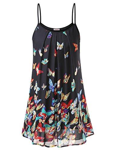 Schmetterlinge vestito linea Abito della Spaghetti estate Chiffon fiori a spiaggia Donna Schwarz Mini wajat In p1q6f8