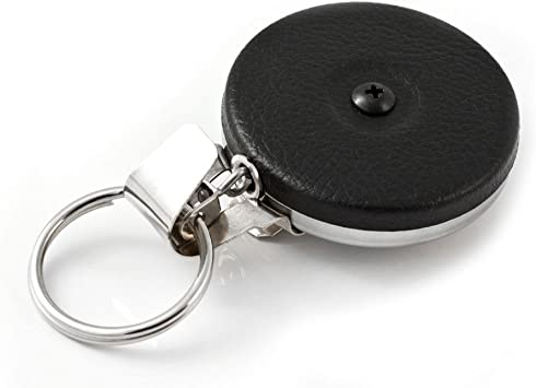 0005-103 8 oz Hus-Key Black Front Split Ring Steel Belt Clip Black Vinyl Retraction KEY-BAK Original Chain Retractable Key Holder with 24 Stainless Steel Chain