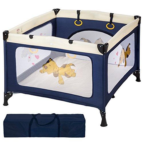 TecTake Baby Laufstall Babybett Kinder Reisebett   inkl. Schlafunterlage + Transporttasche   navy blau