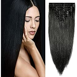 """Double Weft 100% Remy Human Hair Clip in Extensions 10''-22'' Grade 7A Quality Full Head Thick Long Soft Silky Straight 8pcs 18clips for Women Beauty (14"""" / 14 inch 120g ,#1 Jet Black)"""