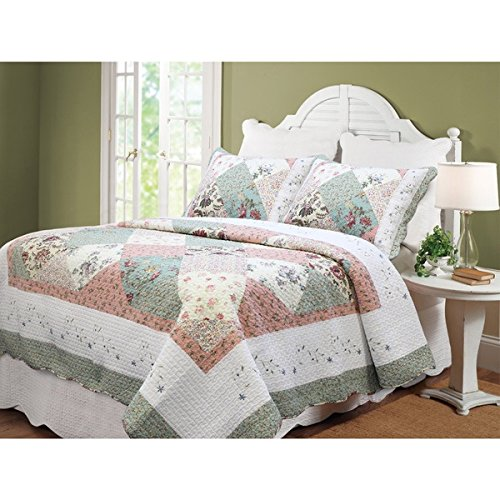Beautiful Sweet And Soothing Embroidered Floral Patchwork Queen 3-Piece Quilt Set Bedspread Chic Gentle Warm Colors Soft Cotton Complement Country Cottage Style Peaceful Elegance Charming Addition