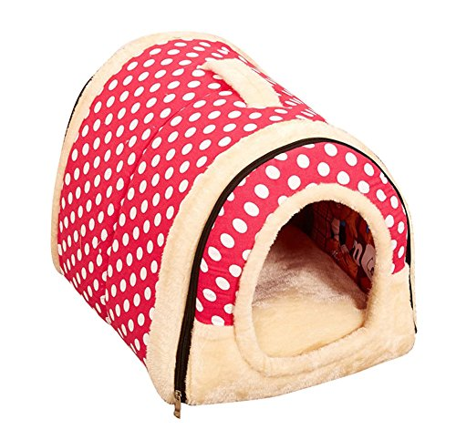 [Freerun Portable Soft Sided Plush Pillowed Indoor Small Dog or Cat Convertible Pet House / Bed - PinkDot,] (Easy Homemade Panda Costumes)