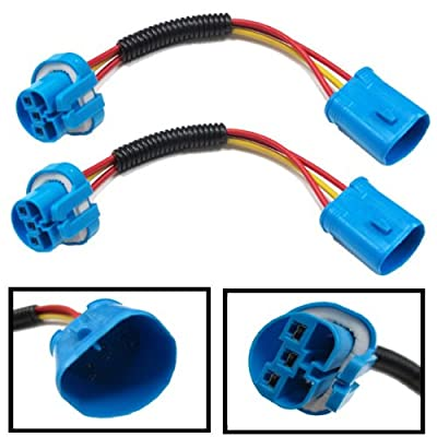 iJDMTOY (2) 9007 9004 Extension Wire Harness Sockets For Headlights, Fog Lights Retrofit Work Use